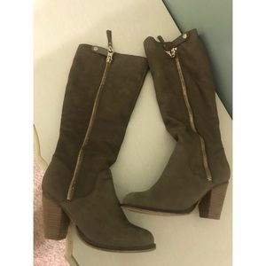 ALDO Brown Suede Boots with Wedged Heel
